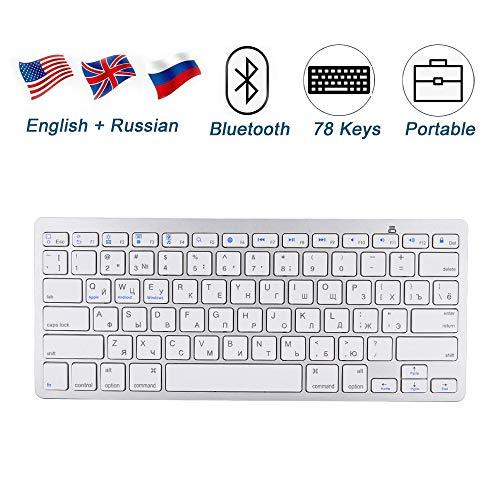 Diyeeni Russische Tastatur, Kabellose Bluetooth Tastatur 78 Tasten Ultradünn Keyboard QWERTY Russisch-Englische Tastatur mit 6 Multimedia Tasten, Batterie Betriebn, für iOS, Android, Windows