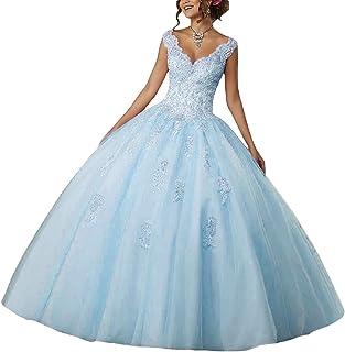 Vestido de Fiesta Largo Vestido de Novia Vestidos de quinceañera Encaje Tul V-Cuello