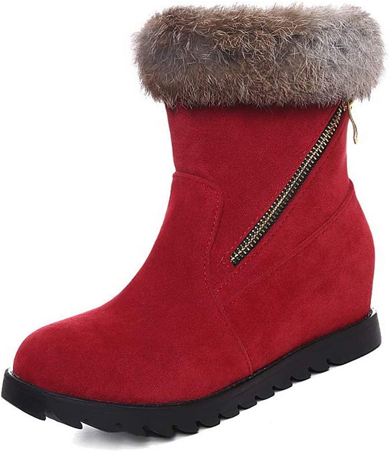 AmoonyFashion Women's Pull-On Kitten-Heels Frosted Assorted color Low-Top Boots, BUSXT121860