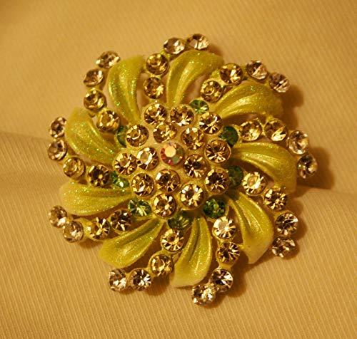 Sparkling Open Swirl Petal Crystal Rhinestone Green Speckled Silvertone Brooch UJ-3998