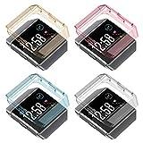 Fotover Fitbit Ionic Hülle,TPU Stoßfester Klarer Stoßfänger Vollschutz Display Schutzhülle Zubehör Cover für Fitbit Ionic Smartwatch,4 Pack