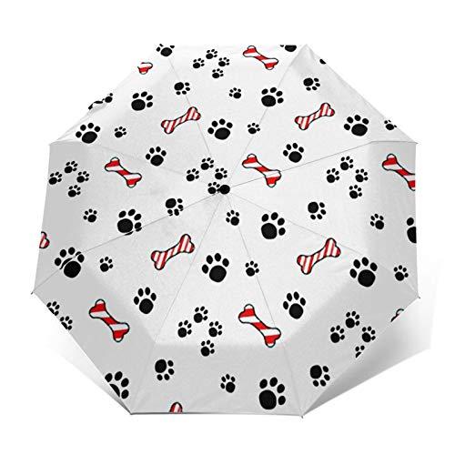 Paraguas Plegable Automático Impermeable Senderos de Pata de Perro, Paraguas De Viaje Compacto a Prueba De Viento, Folding Umbrella, Dosel Reforzado, Mango Ergonómico