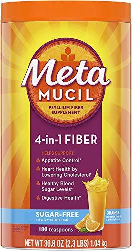 Metamucil Sugar-Free Fiber Supplement, 180 Servings, 4-in-1 Psyllium Husk Powder, Orange Flavored Drink, 36.8 Ounce, 2.3 Pound