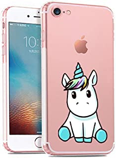iPhone 7 Case,Cute Mythical Creatures Unicorn Pattern on Soft TPU Silicone Protective Skin Ultra Slim & Clear with Unique Design Gift Bumper Back Cover for iPhone 7,Unicorn Curious