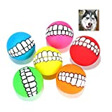 <span class='highlight'><span class='highlight'>Xiluck</span></span> Funny Dog Teeth,Dog Ball with Teeth,6 Pack Funny with Teeth Pattern Squeaky Sound Chewing Chew Safety Smile Dog Ball For Cats Dogs Interactive Pet Balls Toys(Random Color)