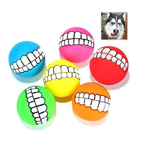 Hundespielzeug Ball Quietscher,6 Stück Lustiges Lächeln Kleine Hunde Quietscher Hundespielzeug Spielzeug Balls Aggressive Kauen Spielzeug Interaktiver Haustierball(Farbmischung)