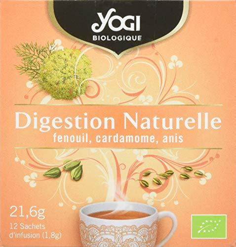 Yogi Biologique Digestion Naturelle, Infusion 100% Bio Fenouil, Cardamome et Anis, 12 Sachets thermosoudés et sans agrafe, 21.6 g, 311211