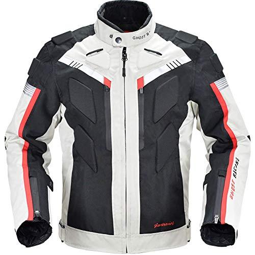 LALEO GDFGTH Cuatro Estaciones Chaqueta de Moto, Impermeable Resistente con Forro Cálido Extraíble Armours y Reflexivo Chaqueta para Motocicleta M-3XL Blanco Negro,L