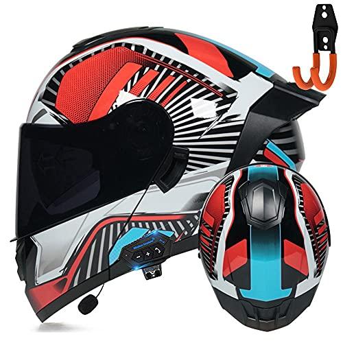 BDTOT Casco de Moto Modular con Bluetooth Integrado ECE/DOTcon Doble Anti Niebla Visera Cascos de Motocicleta con un Micrófono Incorporado Ligero para Hombres Mujeres Portacascos Gratis