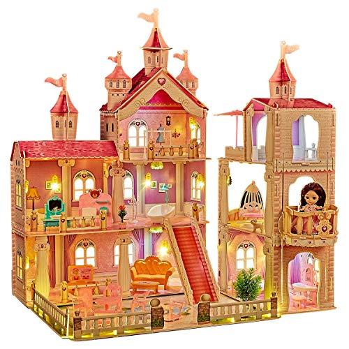 LADUO Casa delle Bambole, con 36 Pezzi di Accessori per mobili e luci. 3 Piani Grande casa delle Bambole Giocattolo (Altezza 83 * Lunghezza 74 * Larghezza 63cm) per Ragazze di 3-6 Anni.