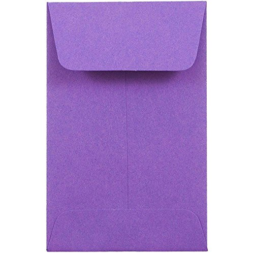 JAM PAPER #1 Coin Business Colored Envelopes - 2 1/4 x 3 1/2 - Violet Purple Recycled - 25/Pack