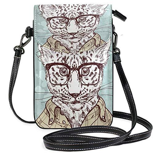 Monedero para teléfono celular, diseño de leopardo hipster con gafas y traje pequeño para teléfono celular, para mujeres y niñas