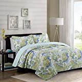 YAYIDAY Cotton Bedspreads Quilt Set Queen/Full Size Tropical Pattern Summer Bedding - Breathable Autumn Bed Blanket - Floral Quilted Coverlet with Shams, Modern Print Hawaii Palm Leaves