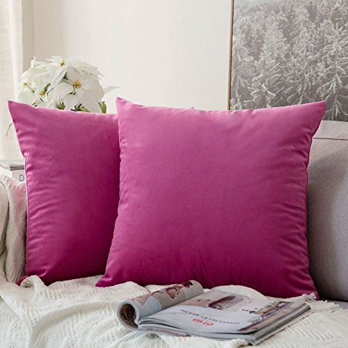 MIULEE Decorative Velvet Cushion Covers 45cm x 45cm/Square Throw Pillowcases for Sofa Bedroom with Invisible Zipper 18x18 Inch Hot Pink Sets of Two