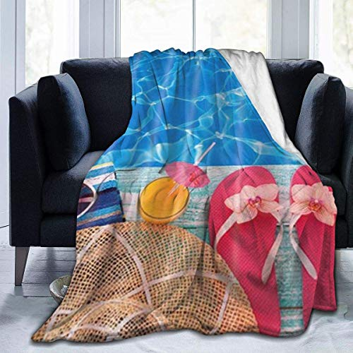 Hdaw Manta de microforro polar ultrasuave, para vacaciones de verano, color azul frío, piscina, color rosa, para decoración del hogar, manta cálida para sofá cama