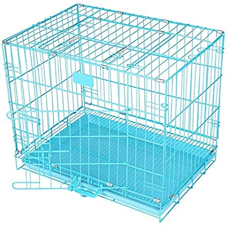 PSK PET MART Easy to Move with Removable Tray Iron Cage for Dog & Rabbit (18 Inch Sky Blue)