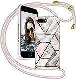 SAMCASE Funda con Cuerda para iPhone 7 Plus/iPhone Plus, Carcasa Mármol Brillante Ultrafina Necklace (Extraíble) con Correa Colgante Ajustable Collar Correa de Cuello Cadena Cordón, Oro Rosa