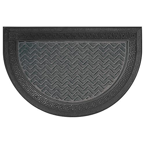Olivo.shop | Felpudo para entrada exterior con forma de media luna grabada. Fondo y borde de goma antideslizante, base de moqueta absorbente. Resistente al agua, 40 x 60 cm, 5 colores (gris)