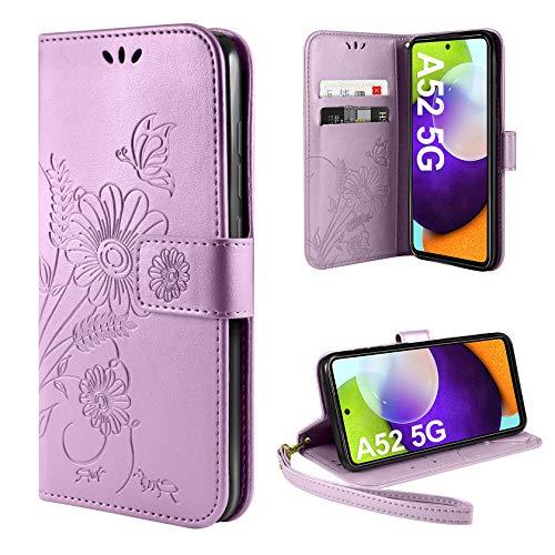 ivencase Funda Compatible con Samsung Galaxy A52 5G, Libro Caso Cubierta la Tapa magnética Protector de Billetera Cuero de la PU Carcasa
