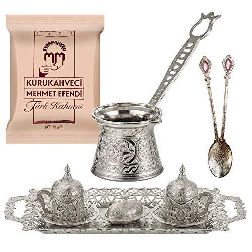 Silver Design Turkish Greek Arab Coffee Espresso Set for Serving - Porcelain Cups With Large Tray Saucers Pot Sugar Bowl - Vintage Silver Engraved Embroidered Design - Ottoman Arabic Gift Set