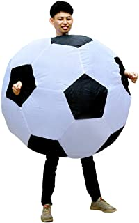 SIREN SUE Inflatable Soccer Football Costume Halloween Funny Blow up Foot Ball Cosplay Suits for Adult Black and White