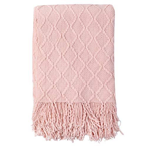 Genfien Manta de Punto con Flecos Acrílico Mantas para Cama Sofá Grande Suave Cálida Decorativa Largo Blanket Manta con Borlas de Dos Lados Chal de Ocio 125×152cm