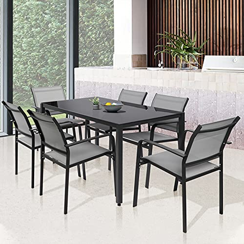 Garden Dining Furniture Set 6 Seater, Patio Garden Dining Table and Chairs Set, Home Kitchen Dining Room Set for Indoor Outdoor, Rectangular Glass Table with 6 Textoline Chairs (1 Table+ 6 Chairs)