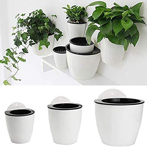 Hosaire 1x Wandblumentopf Hanging Planter Automatische Bewässerung Blumentopf Perfekt für Home Office Dekoration (L)