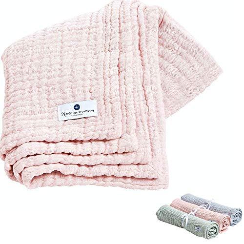 Nordic Coast® Musselin Decke Premium – 4 in 1 Baby Krabbeldecke in Rosa – 100% Oeko Tex Baumwolle – Mulltuch Babydecke Pucktuch Spucktuch – Hochwertige Qualität