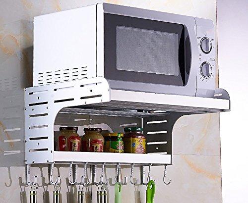 BOBE SHOP- Space Aluminium Micro-ondes Rack Wall Hanging Cuisine étagère étagère de rangement 2 étages Ensemble de four Réservoirs de rangement ( Couleur : Matt silver , taille : De 55 cm )