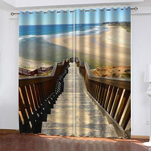 WLHRJ Cortina Opaca en Cocina el Salon dormitorios habitación Infantil 3D Impresión Digital Ojales Cortinas termica - 160x115 cm - Escalera de Madera Vista al mar Playa
