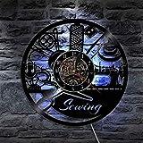 KEC Lámpara de Pared LED de máquina de Coser Vintage, Diferentes Herramientas de Costura, Reloj de Pared, decoración del hogar, Reloj de Pared, Letrero de costurera, lámpara Moderna