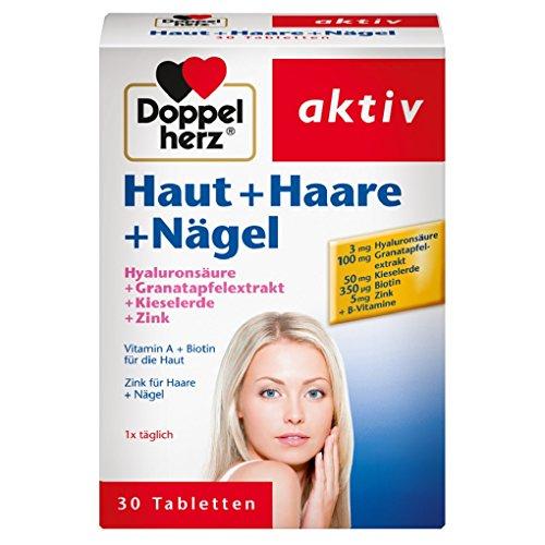 Doppelherz Haut + Haare + Nägel – Nahrungsergänzungsmittel mit Zink zum Erhalt normaler Haut – Plus Hyaluron & Kieselerde – 1 x 30 Tabletten
