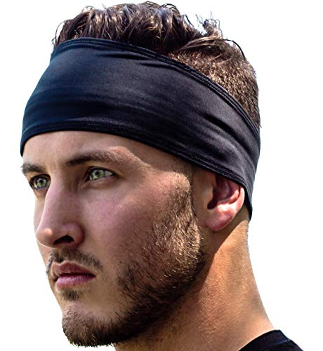Stirnband Damen und Herren | Haarband Sport Schweißband mit Anti-Rutsch-Streifen | Sport Stirnband für alle Kopfgrößen (Schwarz)