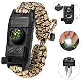 PSK Paracord Bracelet 8-in-1 Personal Survival Kit Urban & Outdoors Survival Knife, Fire Starter, Glass Breaker, Survival Whistle, Signal Mirror, Fishing Hook & String, Compass (Sand Camo)