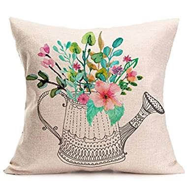 Gotd Multicolor Pillow Flower Letters Series Pillow Christmas Decorations Decor Square Linen Blend Christmas Pillow Case Sofa Waist Throw Pillow Cushion Cover (Style 1)