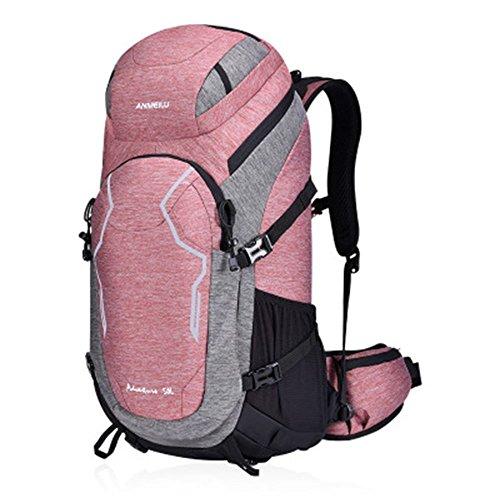 zoomlie anmeilu Stoff 600D Nylon Outdoor Wandern Rucksack, Freizeit Wandern Rucksack, Sport Reise Rucksack, 61* 30* 25cm, Kapazität 50L, Grün und Pink, damen, rose