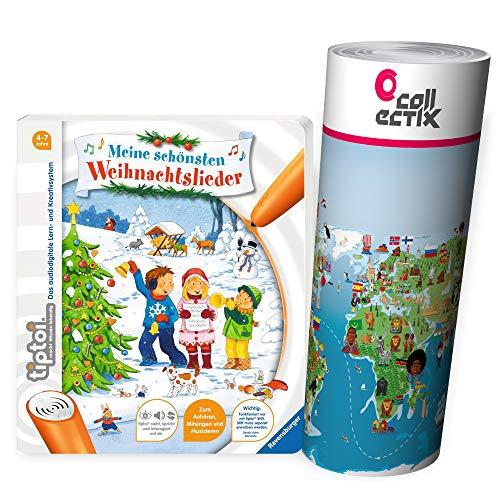 Ravensburger tiptoi® Weihnachten Musik Kinder Lieder Buch | Meine schönsten Weihnachtslieder + Kinderlieder Wimmel-Weltkarte