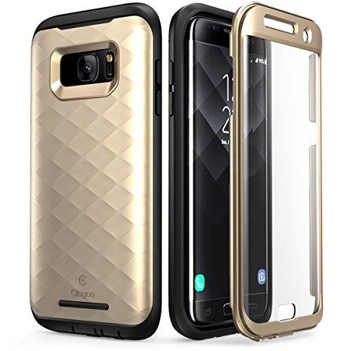 Clayco Samsung Galaxy S7 Edge Hülle [Hera], Ganzkörper Schutzhülle, Kratzfest Handyhülle Hülle mit Eingebautem Bildschirmschutz für Samsung Galaxy S7 EDG, Gold