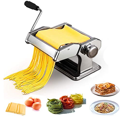 easy pasta doughs KGK Pasta Machine Manual Roller Pasta Maker, 7 Adjustable Thickness Noodles Maker 2 in 1 Pasta Roller & Dough Cutter Machine, Spaghetti Fettuccini Lasagna Dumpling Maker Machine