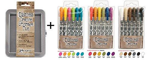 SPECIAL BUNDLE Includes: Ranger Tim Holtz 18 Distress Crayons: Sets #1, #2, #3 PLUS Tim Holtz Distress Crayons TIN (TDBK47902+TDBK47919+TDBK47926+THTDA56485)