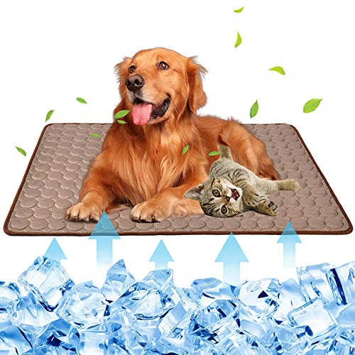 Summer Pet Cooling Mat for Dogs Cats Kennel Ice Silk Washable Mat Breathable Pet Crate Pad Cusion Sleep Mat for Sofa Bed Car Seats Travel Portable Dog Self Cooling Mat (Brown-XL(40''x28''))