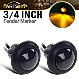 2) 3/4' Smoked Amber LED Clearance Marker Bullet Light/Rubber Grommet 1 LED For Truck Pickups FLush Mount