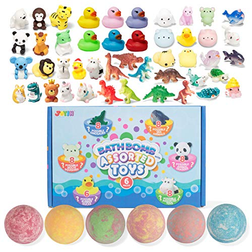 Bath Bombs with Assorted Toy for Kids, 6 Pack Bubble Bath Bombs with Surprise Random Toy Inside, Natural Essential Oil SPA Bath Fizzies Set, Kids Safe Birthday Gift Set for Boys and Girls