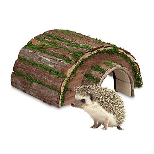 Relaxdays Igelhaus, Holz & Moos, Überwinterung für Igel im Garten, wetterfest, Igelhotel HxBxT: 20 x 40 x 42 cm, Natur