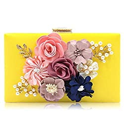 Floral Yellow Clutch With Pearls and Rhinestones Purse