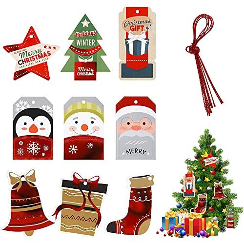 Etiquetas navideñas de papel kraft para Regalos 108Pcs Etiqueta colgante Árbol de Navidad Etiquetas de papel de aluminio coloridas Etiquetas de regalo feliz Navidad para decoración bricolaje Navidad
