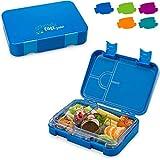 schmatzfatz junior Kinder Lunchbox, Bento Box mit variablen Fächern (Blau)