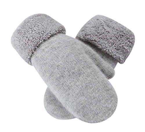 Blancho Woll Fäustling schöne Frauen Winterhandschuhe warme Fingerlose Handschuhe, hellgrau