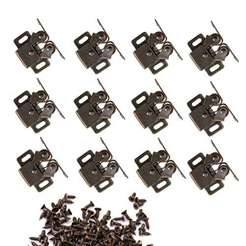 NewZC Möbelschnäpper 12 Stück Doppel-Rollenschnäpper Möbel Schnäpper Rollenschnäpper Türfeststeller Doppelrollensperre Doppel-Rollenschnäpper Tür Kugelschnapper aus Stahl inkl Zubehör - Bronzed